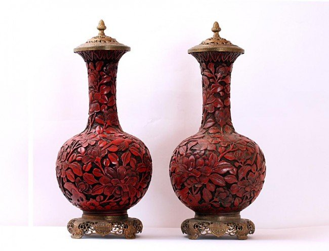 11: PAIR OF  ANTIQUE CINNABAR LACQUER BOTTLE VASES