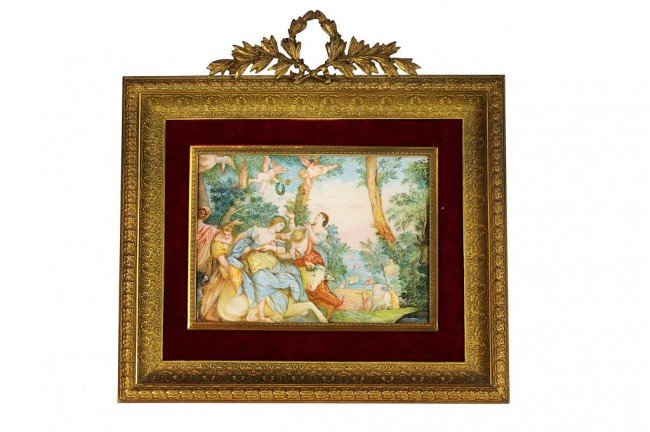 13: IVORY HAND PAINTED PLAQUE ON GILDED BRONZE FRAME