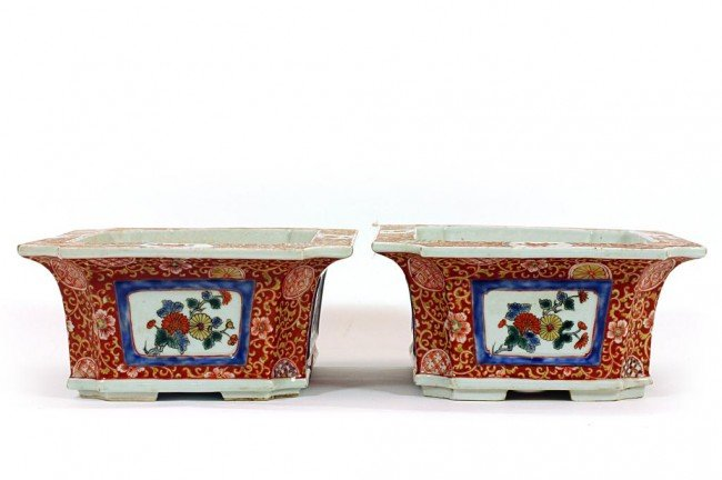23: PAIR OF CHINESE CORAL-GROUND RECTANGULAR PLANTERS