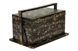 55: CHINESE MING PERIOD BLACK LACQUERED TRAVELLING BOX