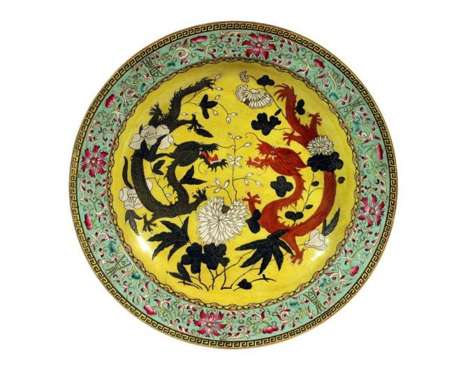 2: LARGE CHINESE SHALLOW DISH WITH DRAGONS