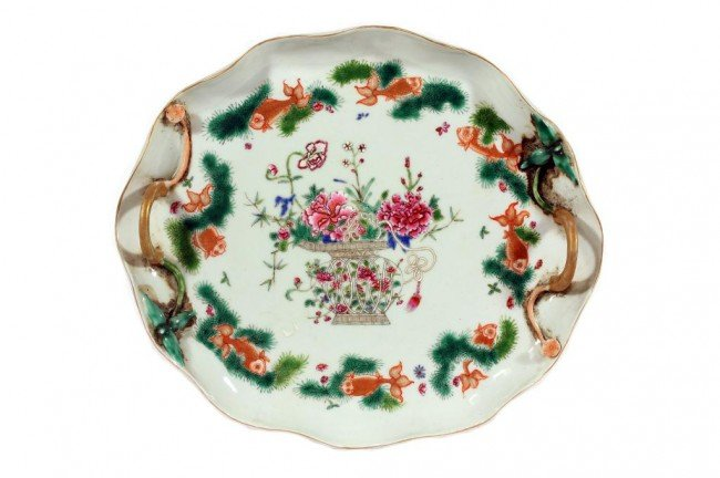 5: CHINESE FAMILLE ROSE SERVING DISH WITH HANDLES