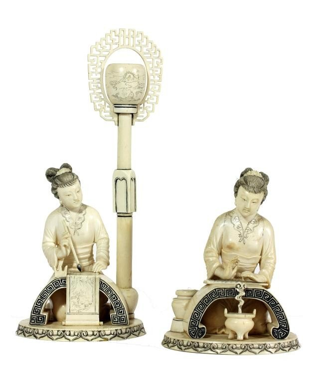 6: PAIR OF CHINESE IVORY OF WOMEN AT LEISURE