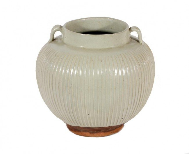 8: CHINESE LOBED MONOCHROMATIC WHITE PORCELAIN JAR