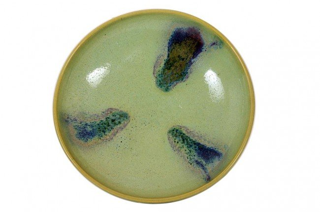 11: CHINESE GLAZED CELADON DISH ON STAND