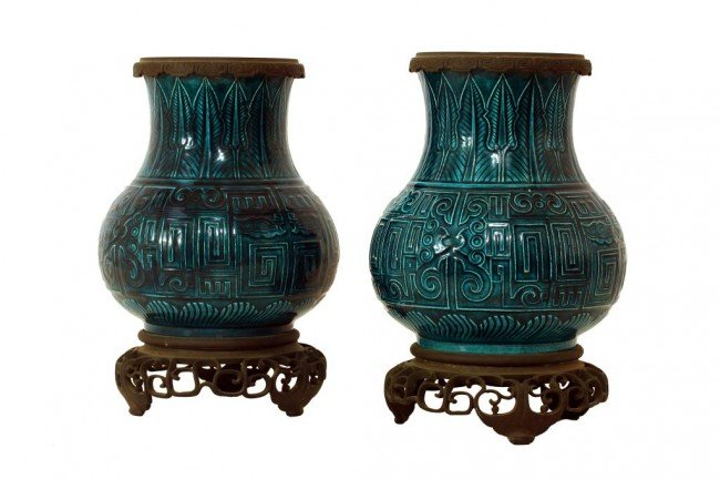 14: PAIR OF CHINESE BLUE-GREEN PORCELAIN VASES