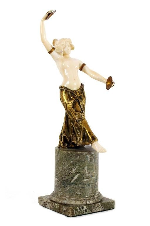 20: FRENCH BRONZE AND IVORY FIGURE, LADY CYMBAL PLAYER