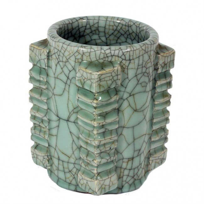 24: CHINESE ROUND CELADON CRACKLE BRUSH POT