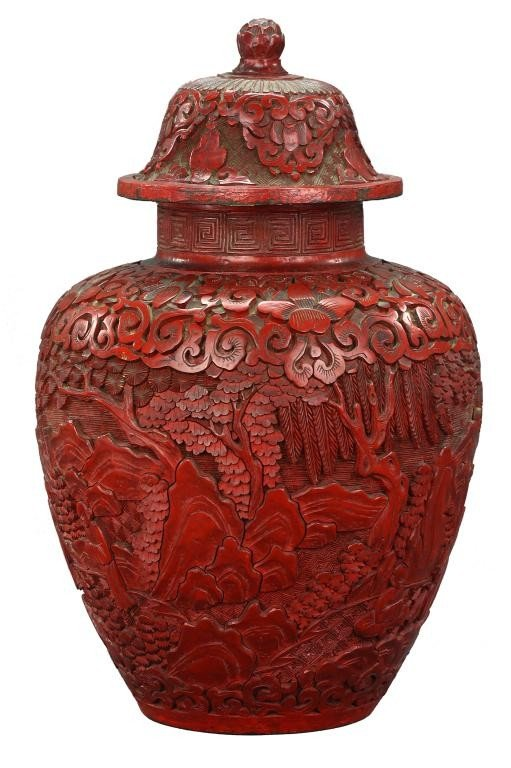 1: ANTIQUE CHINESE CINNABAR LACQUERED LIDDED JAR