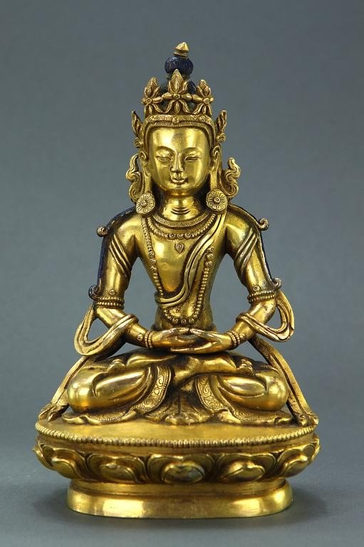 5: ANTIQUE TIBETAN GILT BRONZE FIGURE OF A DEITY