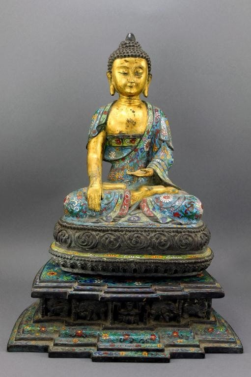 8: MAGNIFICENT ANTIQUE CHINESE BRONZE CLOISONNE BUDDHA