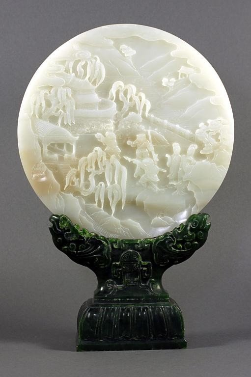 10: CHINESE WHITE JADE SCREEN ON SPINACH JADE STAND