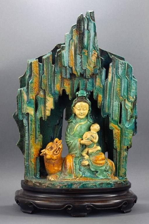 12: CHINESE GLAZED POTTERY MODEL OF GUANYIN AND CHILD