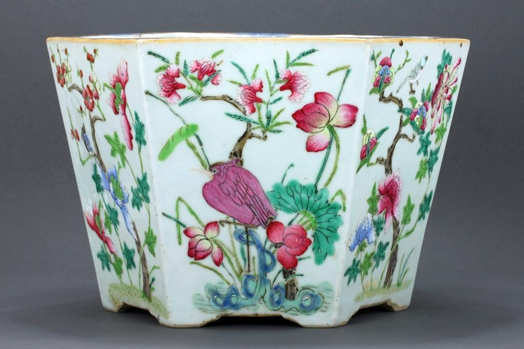 15: CHINESE HEXAGONAL FAMILLE ROSE PORCELAIN PLANTER