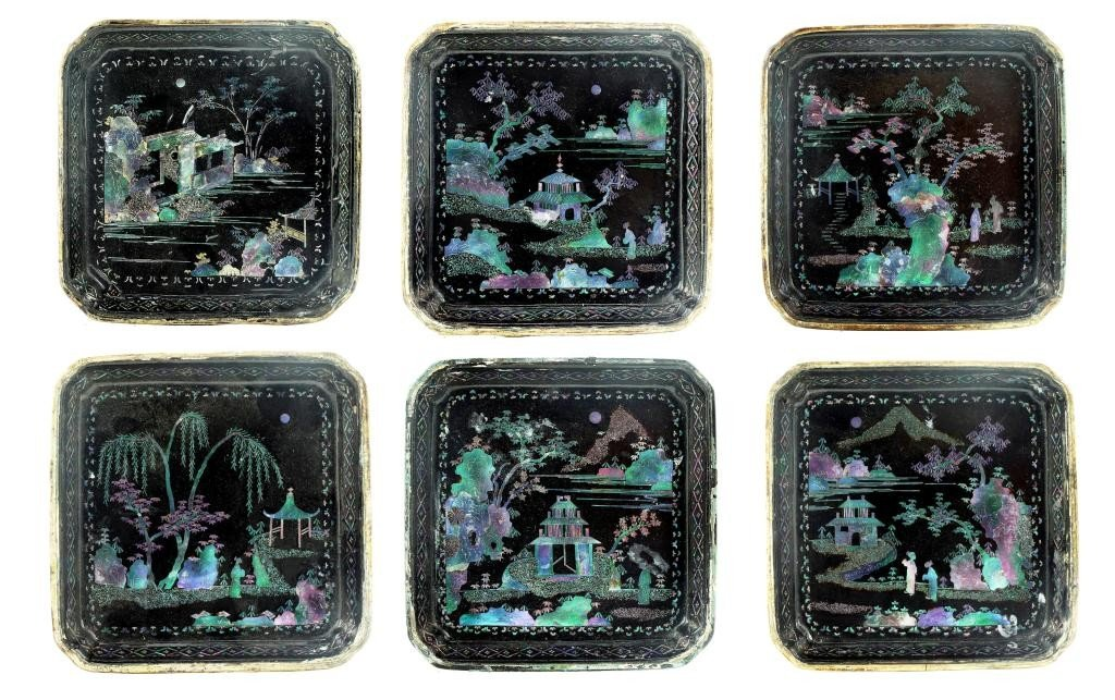 17: SET OF SIX LAC BURGAUTE SQUARE DISHES