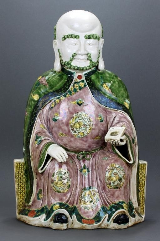 19: CHINESE FAMILLE VERTE PORCELAIN FIGURE OF A SAGE