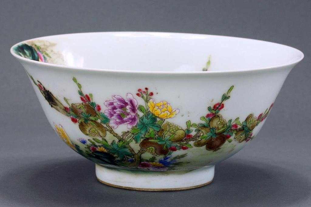 21: CHINESE POETRY AND GARDEN PORCELAIN BOWL