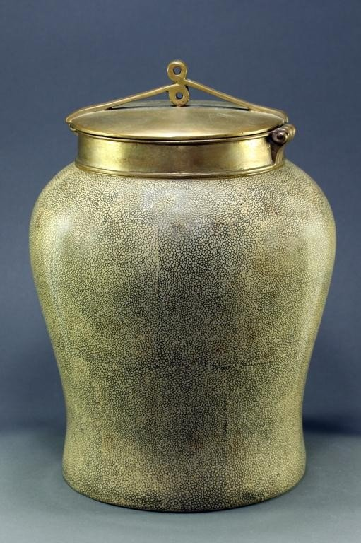 23: OLD PORCELAIN JAR WITH BRONZE COVER