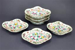 149: SET OF SIX FAMILLE ROSE FOOTED PORCELAIN DISHES