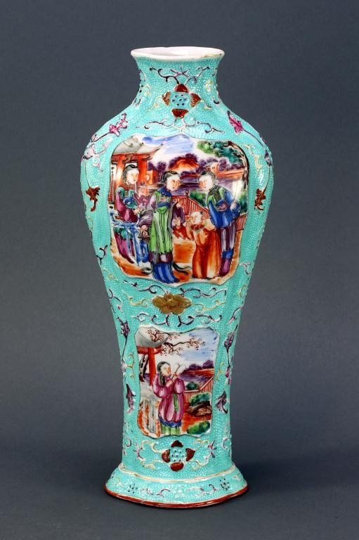 1: 18TH CENTURY CHINESE FAMILLE ROSE FOUR LOBED VASE