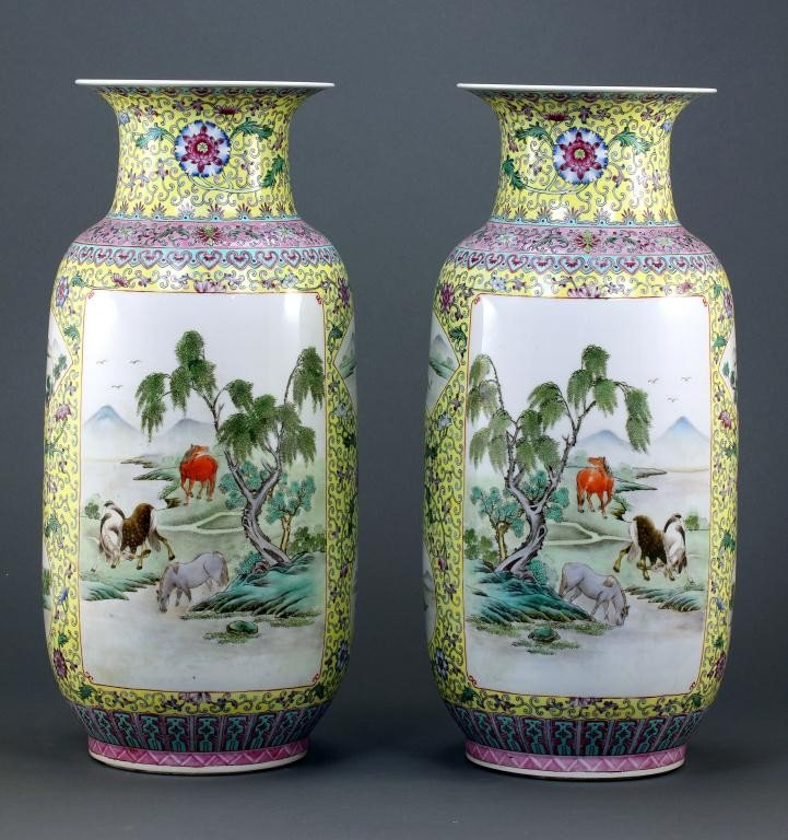 21: PAIR OF CHINESE ENAMELED YELLOW PORCELAIN VASES