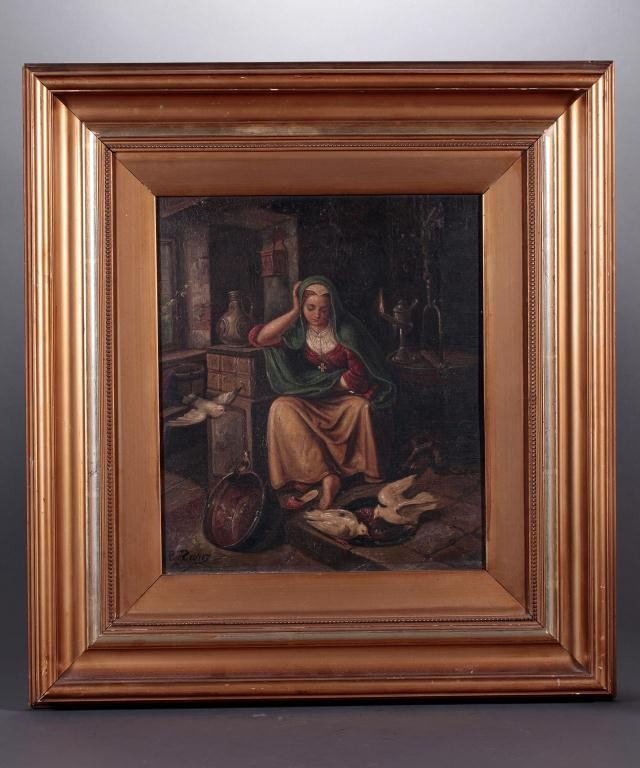 4: OIL PAINTING ON CANVAS, OF A LADY FEEDING BIRDS