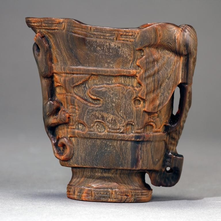 6: WELL-CARVED HORN LIBATION CUP, MARK ON BASE