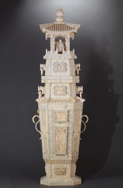 8: MONUMENTAL AND FINE CHINESE CARVED IVORY, A PAGODA