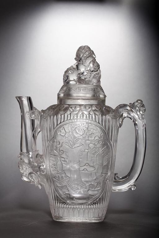 18: LARGE CHINESE ROCK CRYSTAL PITCHER WITH COVER
