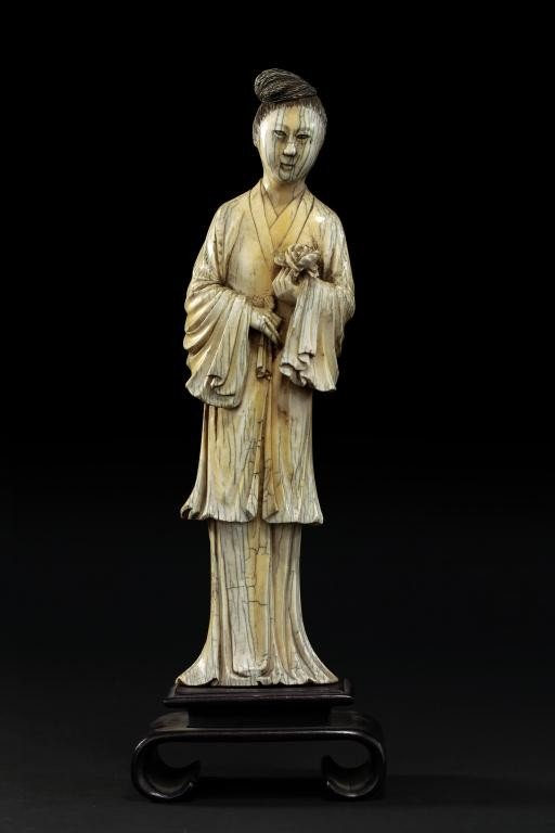 1: CHINESE IVORY FIGURE OF A GUANYIN ON STAND