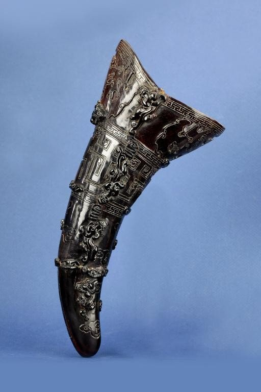 3: CHINESE CARVED HORN WITH RAISED CHILONGS