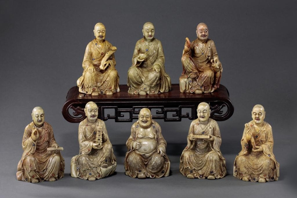 6: CHINESE BEJEWELLED SOAPSTONE FIGURES OF 8 LOHANS
