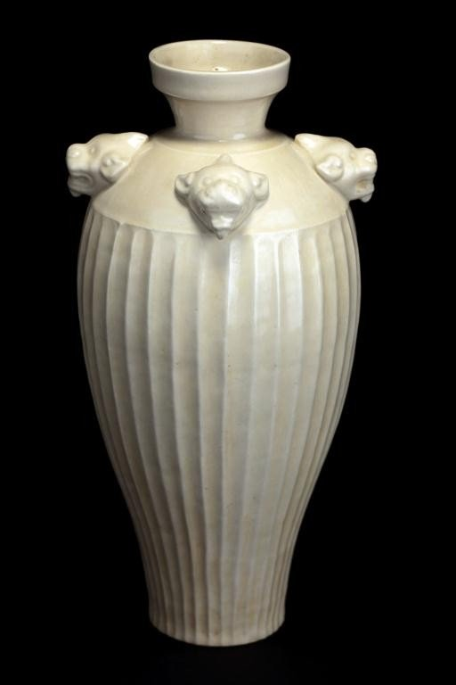 15: ANTIQUE CHINESE LOBED DING WHITE VASE