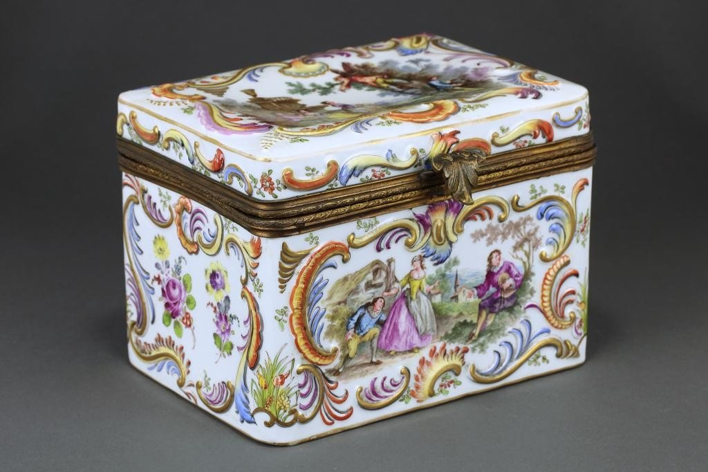 16: GERMAN DRESDEN HAND PAINTED JEWELRY BOX