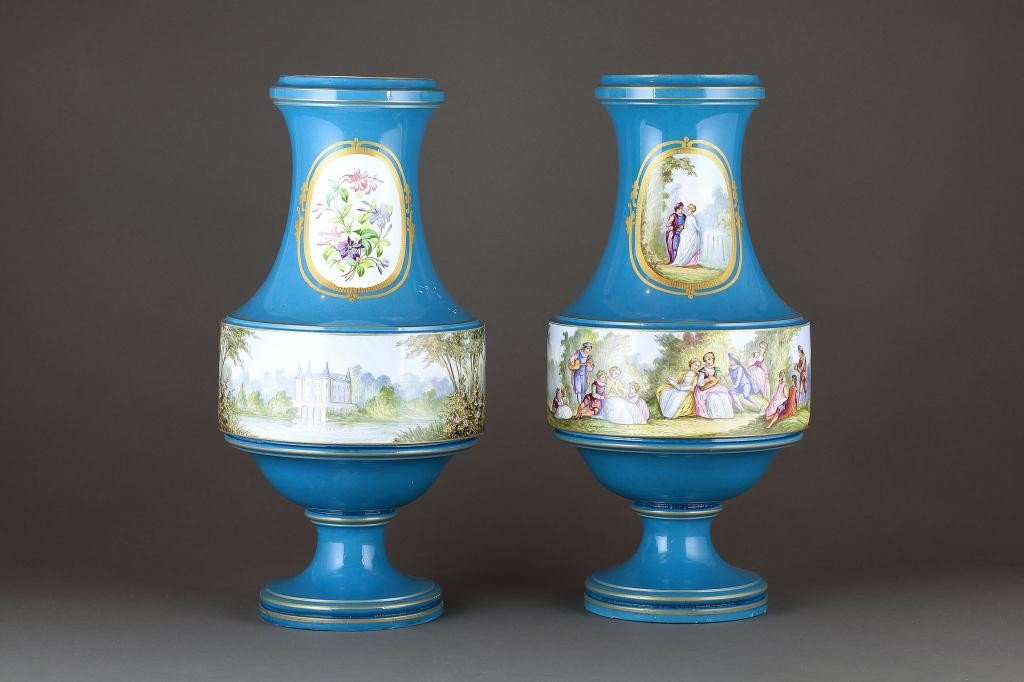 19: PAIR OF HAND-PAINTED FRENCH SEVRES-STYLE VASES