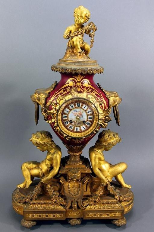 20: FRENCH BURGUNDY ORMOLU-MOUNTED MANTEL CLOCK, c1860