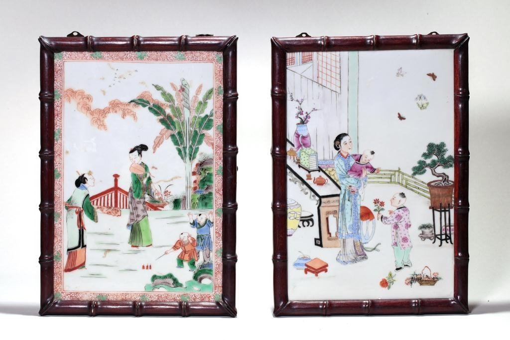 24: PAIR OF CHINESE FAMILLE ROSE PORCELAIN PLAQUES