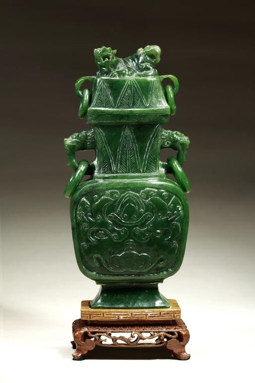 2: CHINESE CARVED SPINACH JADE VASE WITH COVER