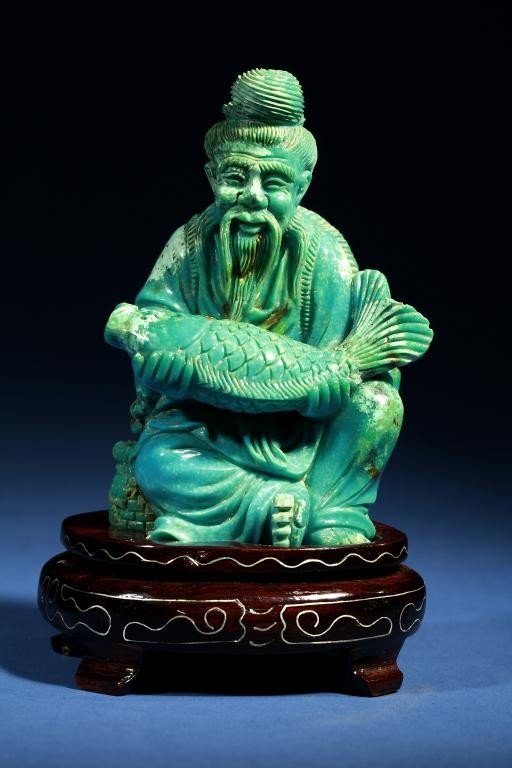 3: CHINESE CARVED TURQUOISE OF A FISHERMAN