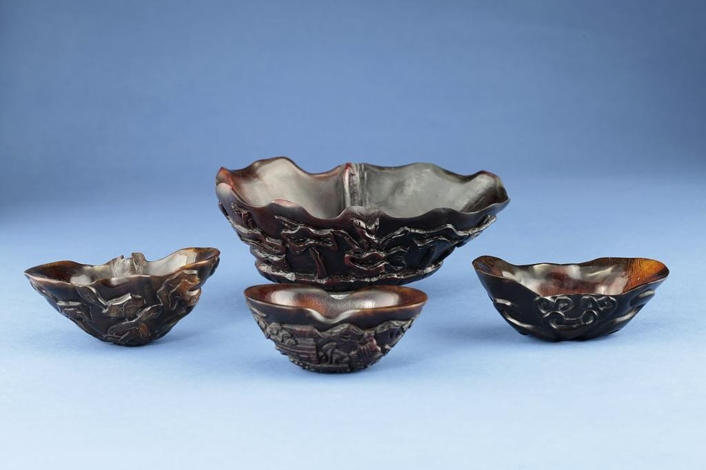 7: FOUR CHINESE HEAVILY CARVED HORN LIBATION CUPS