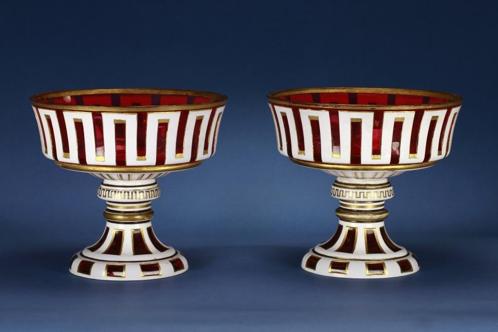 13: PAIR OF BOHEMIAN OVER-LAY GLASS COMPORTS