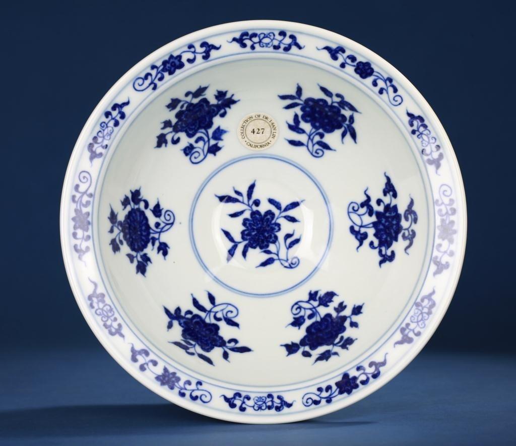 159: CHINESE YONGZHENG BLUE AND WHITE BOWL, OF PERIOD