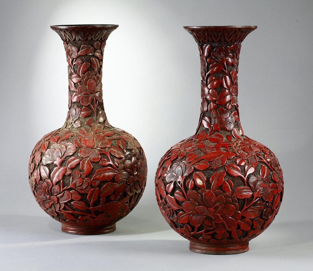 4: PAIR OF ANTIQUE CINNABAR LACQUER BOTTLE VASES