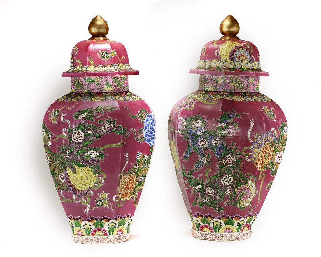 17: PAIR OF LARGE ORIENTAL ROSE GROUND LIDDED JARS