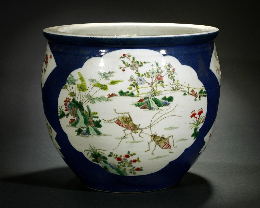 21: ANTIQUE CHINESE FAMILLE ROSE BLUE GROUND PLANTER