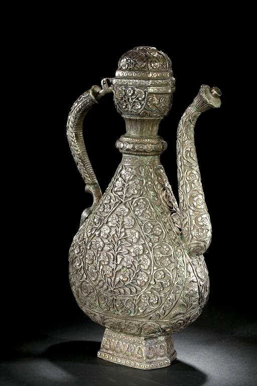 2: ANTIQUE CHINESE SILVERED AND CHASED LIDDED EWER