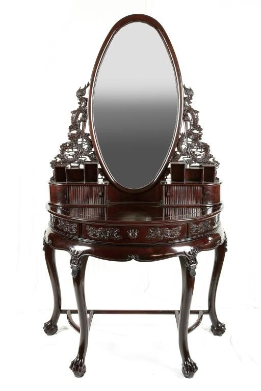 190: CHINESE CARVED MAHOGANY VANITY TABLE AND MIRROR
