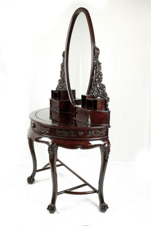 190: CHINESE CARVED MAHOGANY VANITY TABLE AND MIRROR - 2