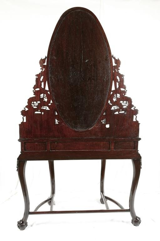 190: CHINESE CARVED MAHOGANY VANITY TABLE AND MIRROR - 3