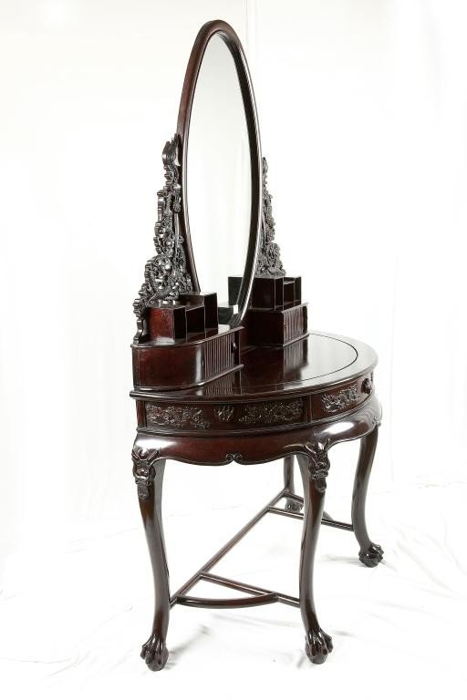 190: CHINESE CARVED MAHOGANY VANITY TABLE AND MIRROR - 4